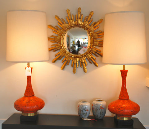 Pair of Orange Lamps-SOLD