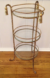 Vintage Brass Rope and Tassel Side Table - SOLD