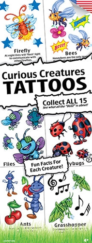 300 Curious Creatures Temporary Tattoos In Folders - FREE DISPLAY!