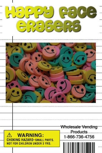"250 Happy Face Erasers In 1"" Capsules - Wholesale Vending Products"