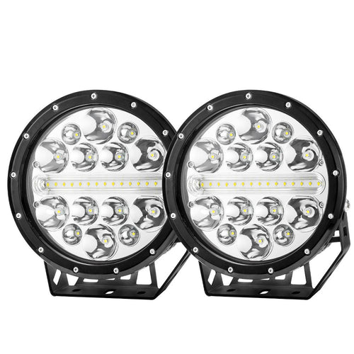 Pair 9inch CREE LED Driving Lights Spotlights Spot Flood Combo 4x4