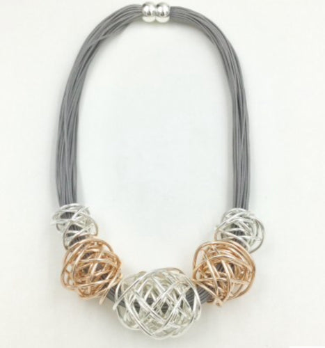 Grey Leather and Rose Gold and Silver Nest Necklace