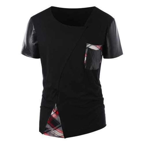 Plaid Panel Zip Embellished Asymmetric T-shirt - Black Xl