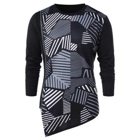 Geometric Print Zipper Embellished Asymmetric T-shirt - Black L