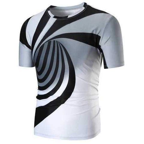 3D Vortex Pattern Casual T-shirt - White M