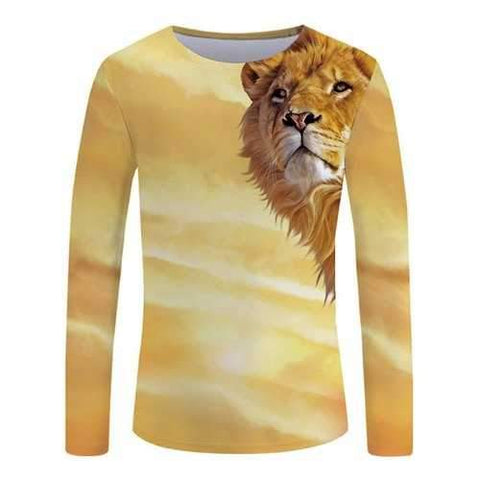 3D Sunset Lion Print Round Neck T-shirt - Goldenrod M
