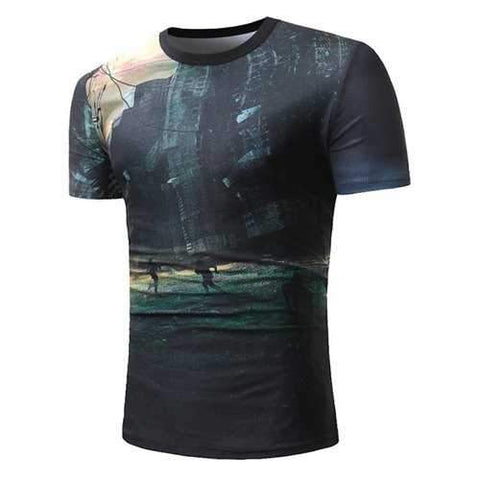 3D Urban Running Men Print T-shirt - Black L