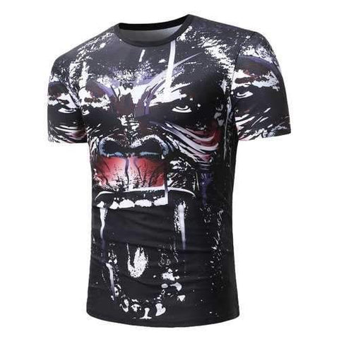 Cartoon Angry Dog Print Casual T-shirt - Black Xl