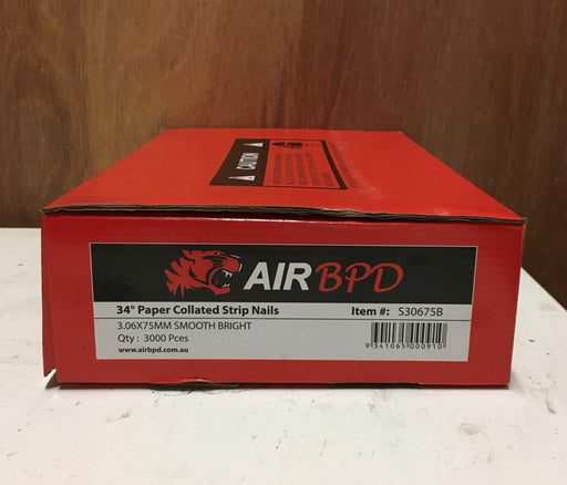 Air BPD 75mm Bright Smooth Framing Nail (Box Qty 3000) S30675B