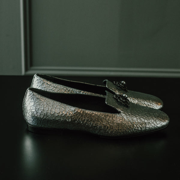 Chanel Silver Crackled Loafer