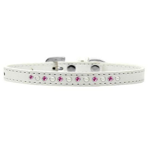 Pearl and Pink Crystal White Dog Collar