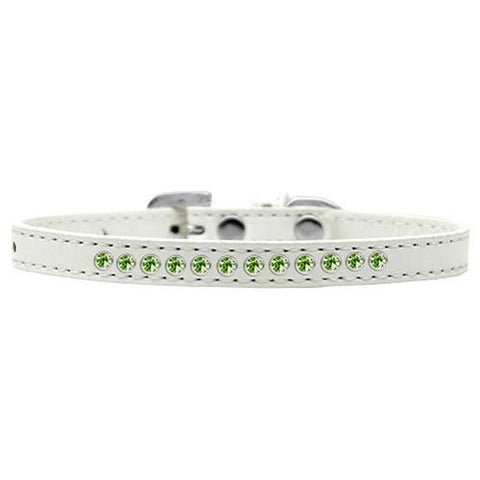 Lime Green Crystal Puppy White Dog Collar