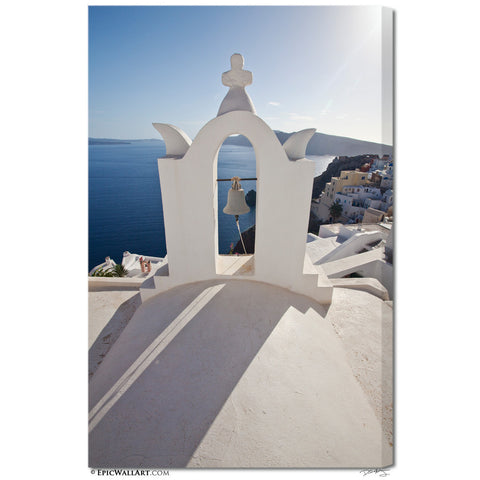 """Bell Tower Shadows"" Greek Islands Fine Art Gallery Wrapped Canvas Print"