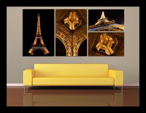 """The Golden Tower"" Eiffel Tower Paris 4-Piece Epic Fine Art Canvas Wall Display"