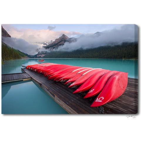"""Lake Louise Canoes"" Banff Fine Art Gallery Wrapped Canvas Print"
