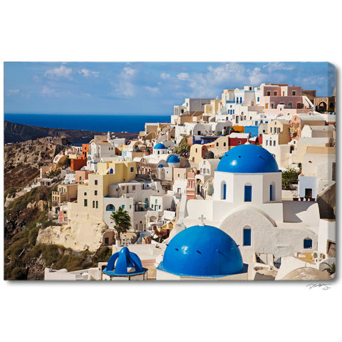 """Oia Village Colors"" Greek Islands Fine Art Gallery Wrapped Canvas Print"