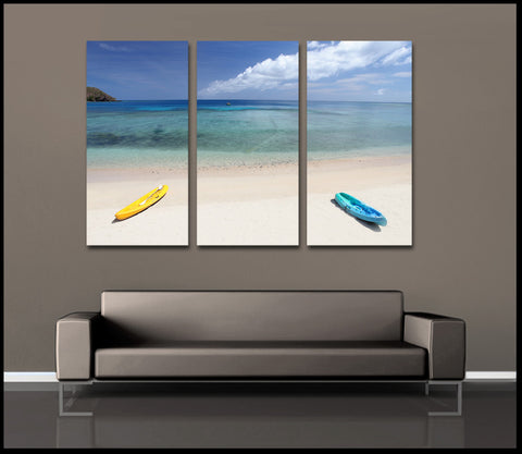 """Parked in Paradise"" Fiji Islands 3-Piece Fine Art Canvas Wall Display"