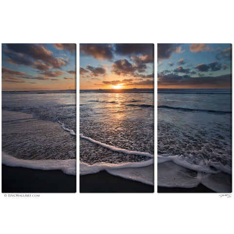 """San Diego Sunset Wave"" 3-Piece Triptych Fine Art Gallery Wrapped Canvas Set"