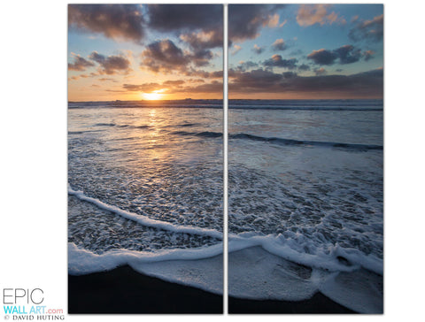 """San Diego Sunset Wave"" 2-Piece Fine Art Gallery Wrapped Wall Mural/Set"