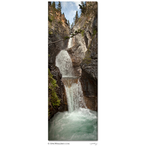"""Silverton Canyon Falls"" Banff Vertical Panoramic Fine Art Gallery Wrapped Canvas Print"