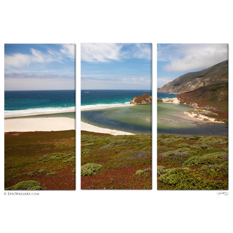 """Big Sur Paradise"" California Coastal 3-Piece Triptych Fine Art Canvas Wall Display"