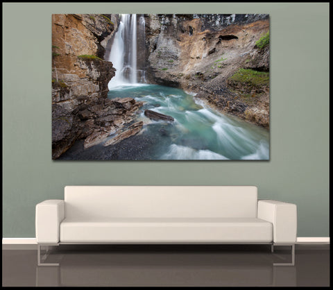 """Canyon Falls"" Banff Fine Art Gallery Wrapped Canvas Print by David Huting"