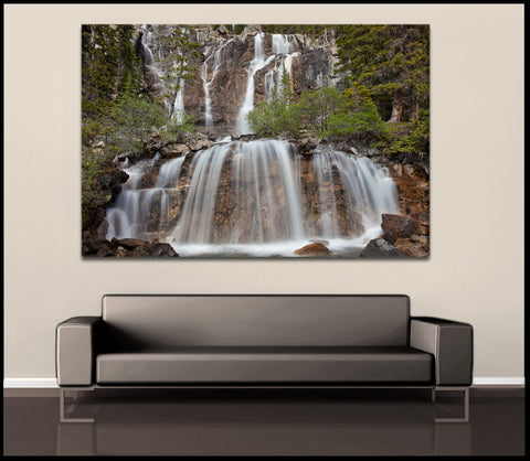 """Flowing Forest Falls"" Canadian Rockies Fine Art Gallery Wrapped Canvas Print"