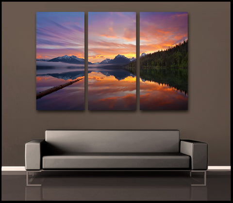 """Glorious Glacier Sunrise"" Montana 3-Piece Fine Art Canvas Wall Display"