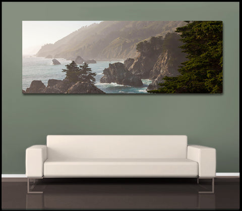"""Big Sur Panorama"" Big Sur Fine Art Gallery Wrapped Canvas Print"