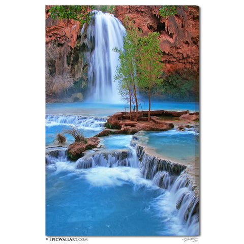 """Havasu Falls Flowing"" Fine Art Gallery Wrapped Canvas Print"
