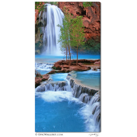 """Havasu Falls Flowing"" Vertical Panoramic Fine Art Gallery Wrapped Canvas Print"