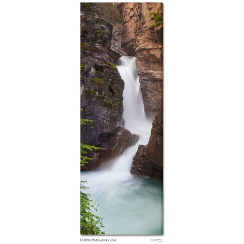 """Johnston Canyon Falls"" Banff Vertical Panoramic Fine Art Gallery Wrapped Canvas Print"