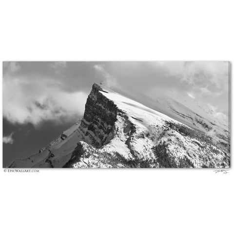"""Majestic Mt Rundle"" Banff Black & White Fine Art Gallery Wrapped Canvas Print"