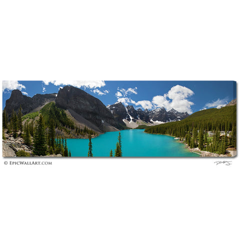 """Moraine Lake Panoramic"" Fine Art Gallery Wrapped Canvas Print"