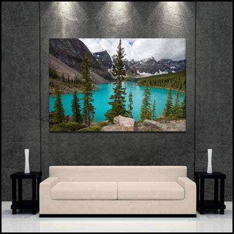"""Moraine Lake Glow"" Canadian Rockies Fine Art Gallery Wrapped Canvas Print"