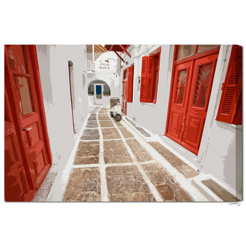 """Myknos Red Streets"" Digital Art Greek Islands Fine Art Gallery Wrapped Canvas"