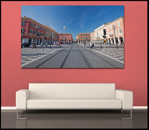 """Colorful Streets of Nice"" Fine Art Gallery Wrapped Canvas Print"