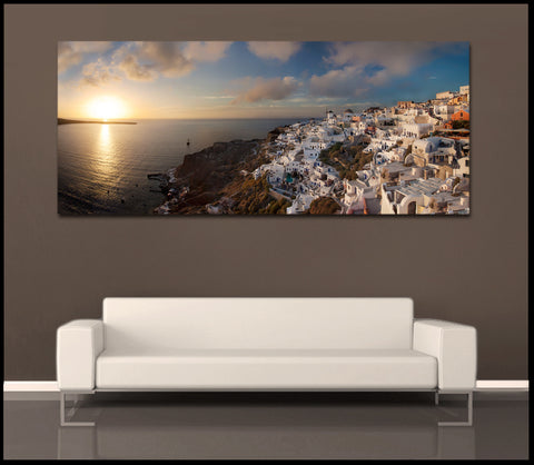 """Santorini Sunset"" Iconic Greek Islands Fine Art Gallery Wrapped Canvas Print"