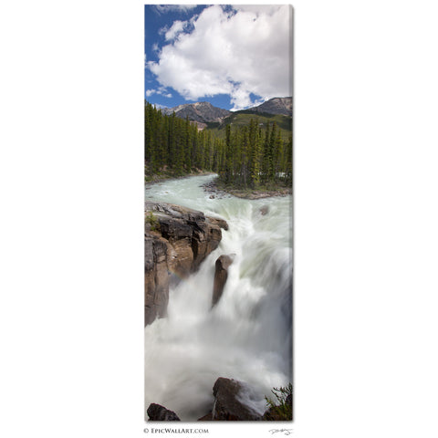 """Sunwapta Falls"" Vertical Panoramic Fine Art Gallery Wrapped Canvas Print"