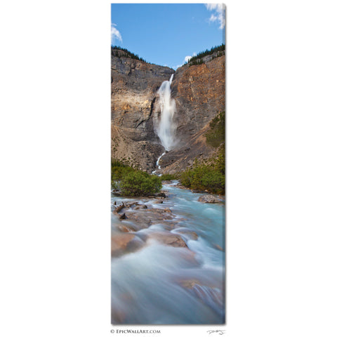 """Takakkaw Falls"" Canadian Rockies Vertical Panoramic Fine Art Gallery Wrapped Canvas Print"