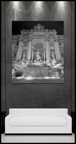 """Trevi Fountain"" Black & White Fine Art Gallery Wrapped Canvas Print"