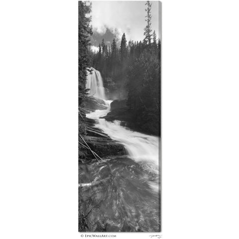 """Virginia Falls Flowing"" Black & White Vertical Panoramic Fine Art Gallery Wrapped Canvas Print"
