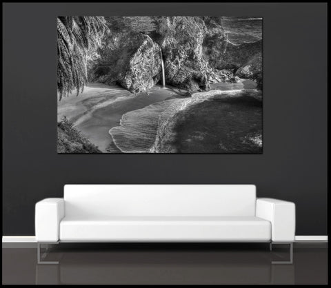 """McWay Falls Flowing"" Black & White Big Sur  Fine Art Gallery Wrapped Canvas Print"
