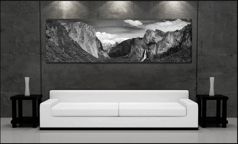 """Tunnel View Panorama"" Yosemite Black & White Fine Art Gallery Wrapped Canvas Print"