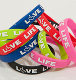 Love Life Silicone Awareness Bracelets - 25 or More