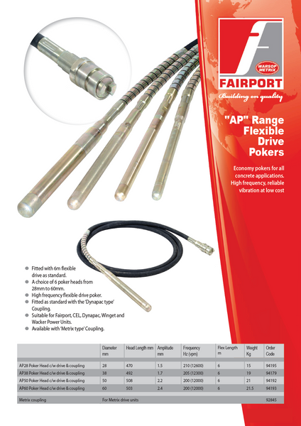 """AP"" Range Flexible Drive Pokers - Fairport Construction Machines"