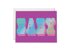 Red Cap Cards Baby Typography Foil Card