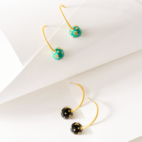 Enamel Curved Earring