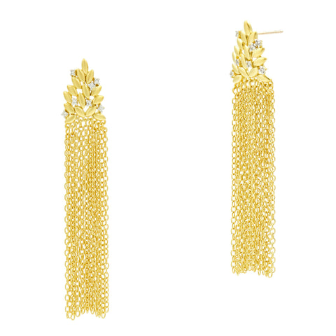 Fleur Bloom Cascading Fringe Earrings