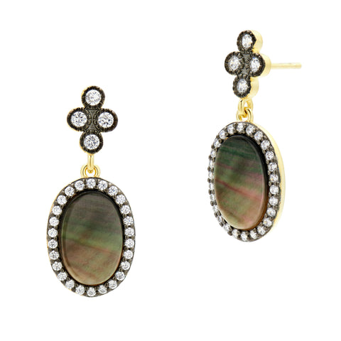 Pavé Oval Drop Earrings
